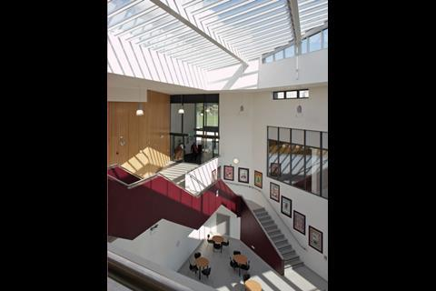 Many of the new schools borrow design ideas from upmarket offices, including irregularly shaped atriums, break-out spaces and other areas for informal socialising and study. This is Titus Salt again